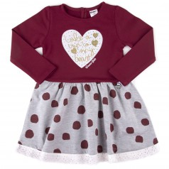 Wanex Платье детское с длинным рукавом бордовое юбка серая в горох