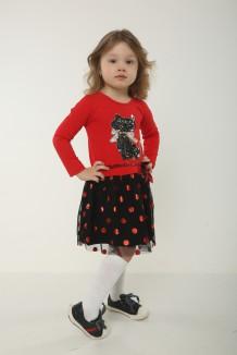 Wanex Платье детское с длинным рукавом красно-черное с кошкой и фатиновой юбкой