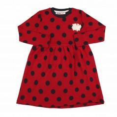 Wanex Платье детское с длинным рукавом красное в чёрный горох