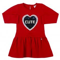 Wanex Платье детское с длинным рукавом красное пайетки-перевёртыши в виде сердца