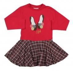 Wanex Платье детское с длинным рукавом красное юбка в клетку