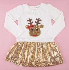 Wanex Платье детское с длинным рукавом новогоднее с оленем бело-золотое и фатиновой юбкой