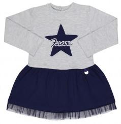 Wanex Платье детское с длинным рукавом серо-синее со звездой