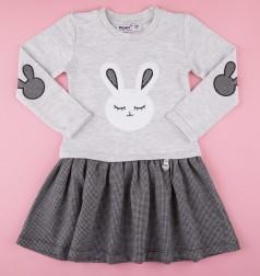 Платье детское с длинным рукавом серое с зайчиком