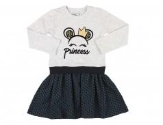 Wanex Платье детское с длинным рукавом серое с короной