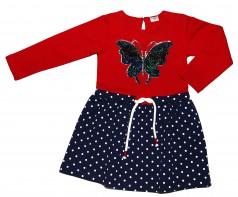 Wanex Платье детское с длинным рукавом сине-красное с бабочкой и пайетками-перевертышами