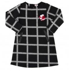 Wanex Платье детское с длинным рукавом теплое в клетку чёрно-белое