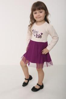 Платье детское с длинным рукавом фатиновая фиолетовая юбка