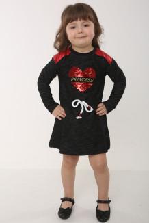 Wanex Платье детское с длинным рукавом черное с сердцем и пайетками-перевёртышами