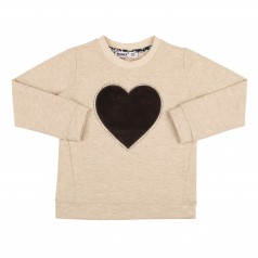 Wanex Свитшот детский коричневый с велюровым сердцем