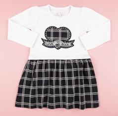 Breeze girls & boys Платье для девочки с длинным рукавом белое юбка в клетку