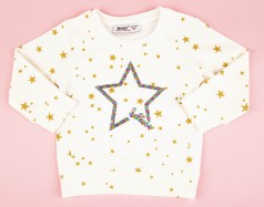 Свитшот детский белый с золотыми звездами