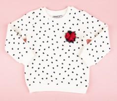 Wanex Свитшот детский белый с черными сердечками
