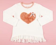 Breeze girls & boys Футболка с длинным рукавом для девочки белый с рюшами и сердцем