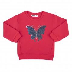 Wanex Свитшот детский малиновый с бабочкой и пайетками-перевёртышами