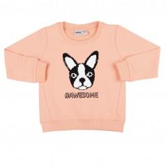 Wanex Свитшот детский персиковый с собакой и пайетками-перевёртышами