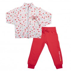 Wanex Спортивный костюм детский бежево-красный с цветами
