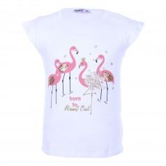 Wanex Футболка детская белая с фламинго