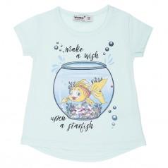 Wanex Футболка детская голубая с рыбкой в аквариуме и пайетками