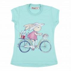 Wanex Футболка детская зайчик на велосипеде бирюзовая