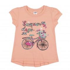 Wanex Футболка детская персиковая с велосипедом и бантиком