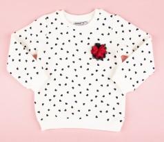 Wanex Свитшот для девочки белый с черными сердечками