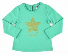 Wanex Футболка с длинным рукавом для девочки мятная со звездой