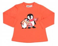 Wanex Футболка детская с длинный рукавом оранжевый с пингвинами