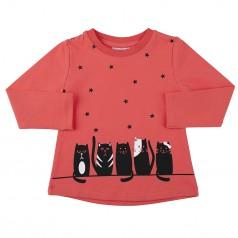 Wanex Футболка детская с длинный рукавом оранжевый с черными котами