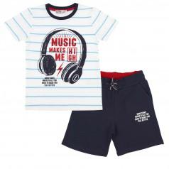 Wanex Комплект детский белая футболка в полоску и синие шорты