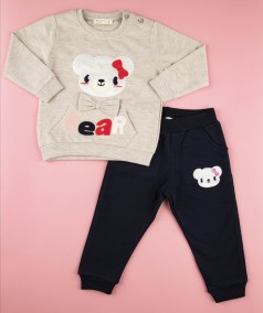 Breeze girls & boys Костюм для девочки с мишкой бежевый и синие штаны