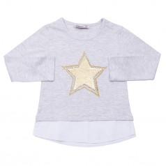 Wanex Футболка с длинным рукавом для девочки серая с пайетками-перевёртышами в виде звезды