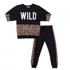 Wanex Костюм для девочки чёрный с леопардовыми вставками