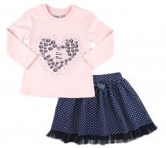 """Wanex Комплект """"Sun rise"""" темно-синяя юбка и розовый лонгслив с розочками в виде сердца"""