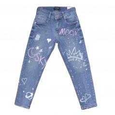 Wanex Джинсы для девочки голубые с надписями и потертостями