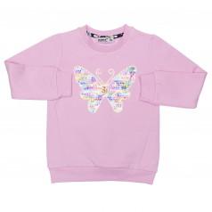 Свитшот для девочки розовый с бабочкой в пайетках тёплый
