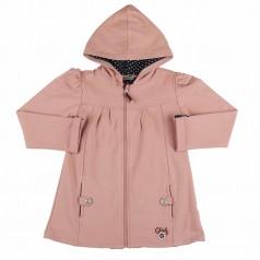 Кофта для девочки розовая с капюшоном на молнии