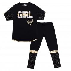 """Wanex Костюм для девочек """"Girl style"""" чёрный с золотыми вставками и стразами"""