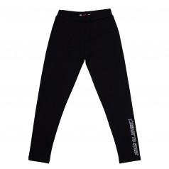 Wanex Леггинсы для девочки тёплые чёрные с принтом на штанине