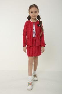 Костюм для девочки красный в горох кардиган юбка и белый лонгслив
