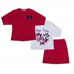 Wanex Комплект детский красный в чёрный горох