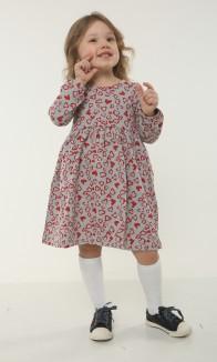 Wanex Платье детское с длинным рукавом серое с сердечками
