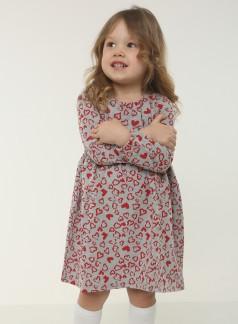 Wanex Платье для девочки с длинным рукавом серое в сердечках