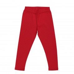 Wanex Леггинсы для девочки красные в черный горох без начёса