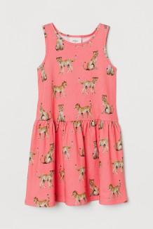 H&M Сарафан для девочки коралловый с гепардами