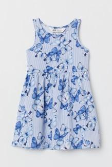 H&M Сарафан для девочки голубой в бабочках