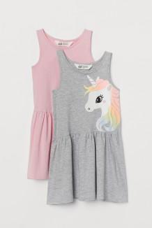 H&M Комплект сарафанов для девочки серый с единорогом и розовый