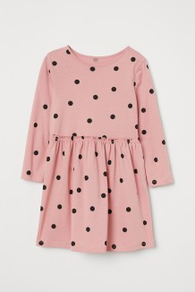 H&M Платье для девочки цвета пудры в черный горох