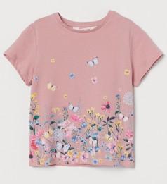 """H&M Футболка для девочки розовая """"Бабочки"""""""