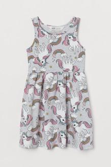 H&M Сарафан для девочки с единорогами серый